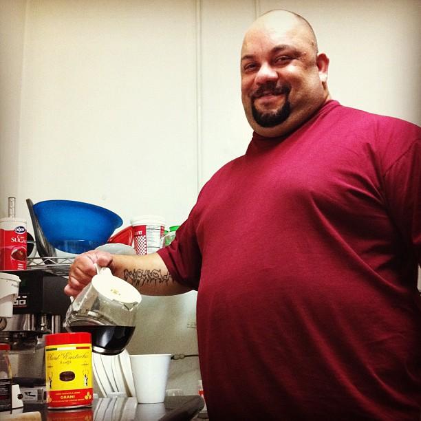 Bernardo making coffee