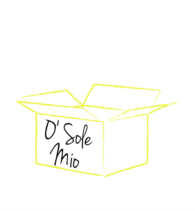 O sole mio in cardboard box