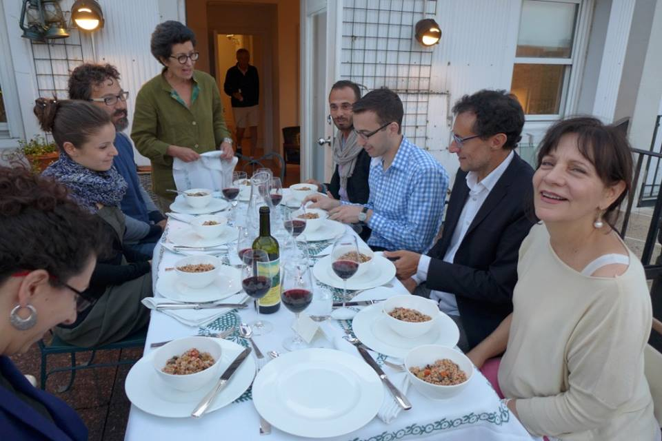 Julia della Croce and Gustiamo producers and team enjoying a post-fancy food show meal