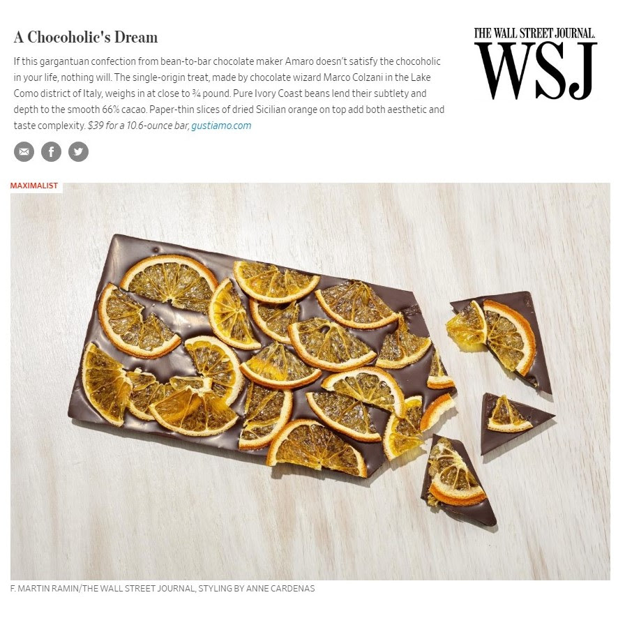 In the Wall Street Journal Gustiamo Marco Colzani bean to bar chocolate gift